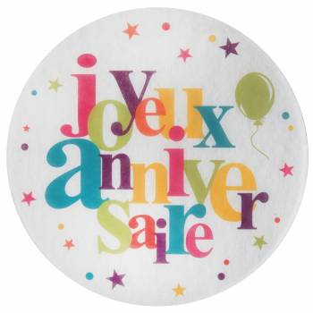 6 Sets de table Joyeux anniversaire multicolore