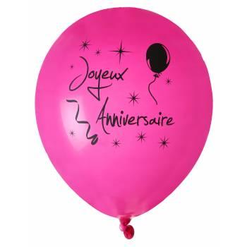 8 Ballons Joyeux anniversaire fuchsia