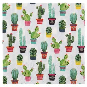 20 Serviettes Mexique Cactus