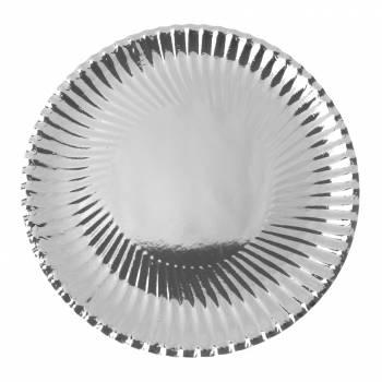 Assiettes carton jetables ronde argent métallisé