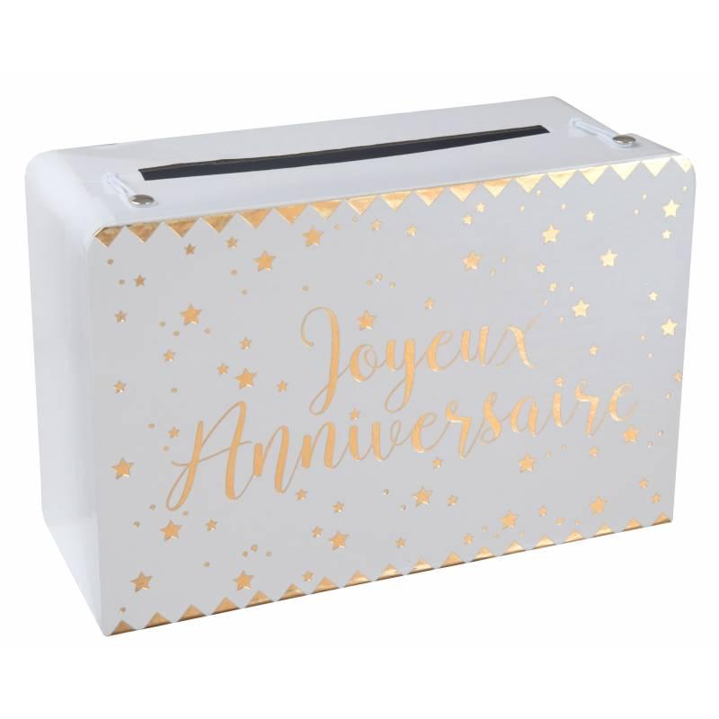 urne en carton joyeux anniversaire or. Black Bedroom Furniture Sets. Home Design Ideas