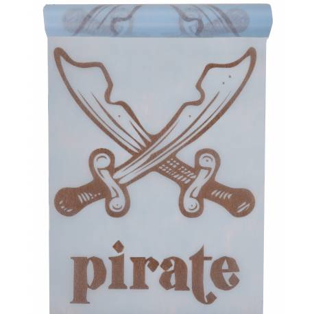 Chemin de table jetable pirate non-tissé pour la décoration de vos tables de fête et anniversaire à thème. Dimensions : 30 cm x 5 mètres