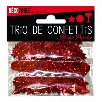Trio de confettis de table rouge