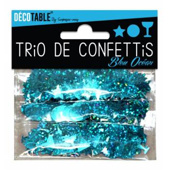 Trio de confettis de table bleu