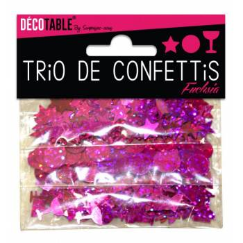 Trio de confettis de table fuchsia