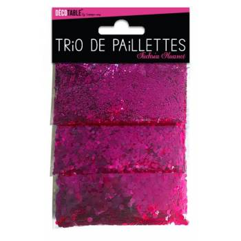 Trio de paillettes de table fuchsia