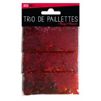 Trio de paillettes de table rouge
