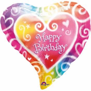 Ballon hélium Coeur color Happy birthday