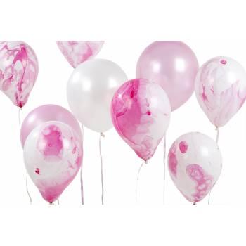 12 Ballons marbrés rose