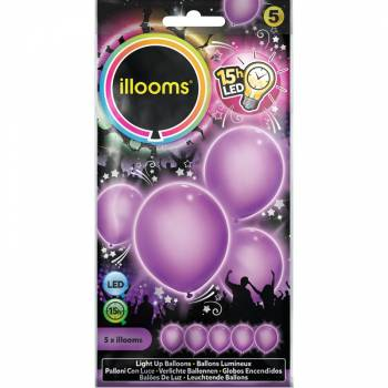 5 Ballons lumineux violet