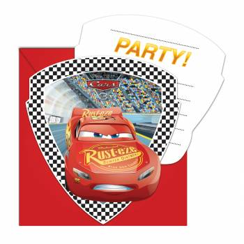 Lot 6 Invitations & Enveloppes Cars 3