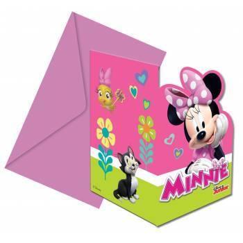 6 Invitations Minnie happy + enveloppes