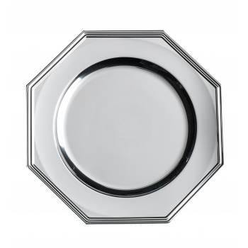 3 Plat octogonal plastique argent 33 cm
