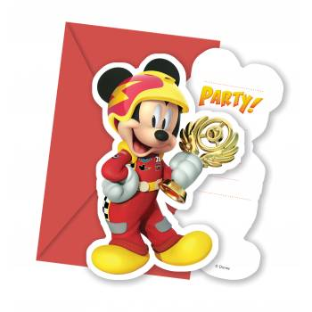 6 Cartes invitations Mickey roadster racers