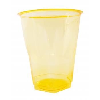Gobelets plastique effet cristal jaune