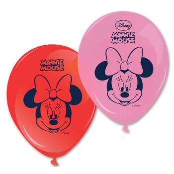 8 Ballons Minnie rose et rouge