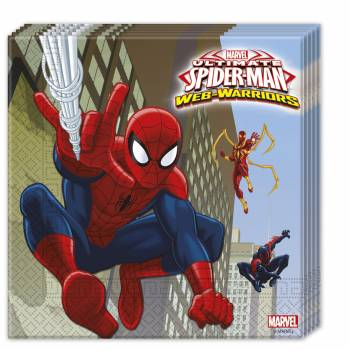 Lot 20 Serviettes Spiderman Warriors
