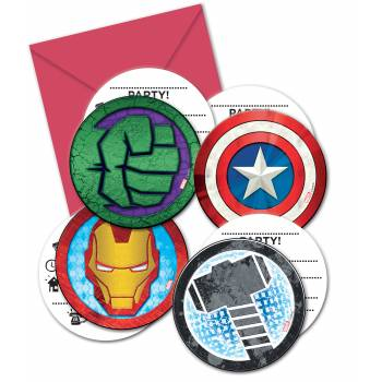 6 cartes d'invitations Avengers mighty
