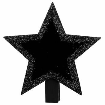 4 Mini pinces ardoise étoiles Noire