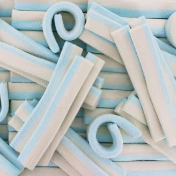 Lanieres de marchmallow bleu et blanche 500gr