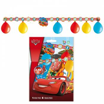 Kit 6 ballons + guirlande anniversaire Cars