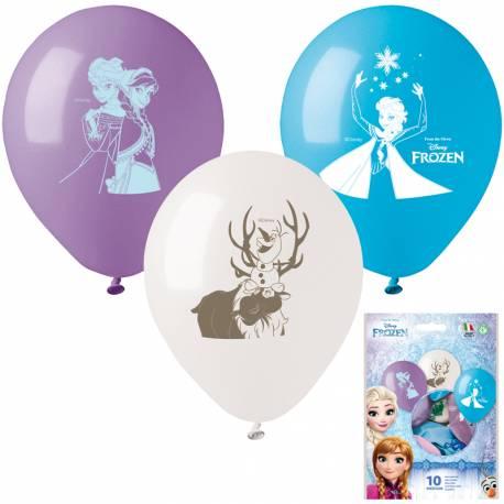10 Ballons latex Reine des neiges pour la décoration anniversaire de votre enfant. Ø26 cm
