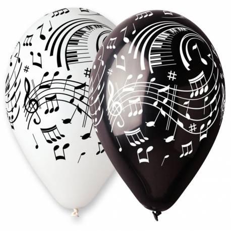 Sachet de 100 ballons en latex avec notes de musique Couleur noir et blanc assortis Ø 30 cm