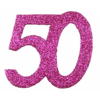 6 Confettis géant fuchsia pailleté 50 ans