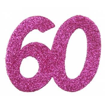 6 Confettis géant fuchsia pailleté 60 ans