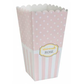 8 Boîtes pop corn Mademoiselle rose