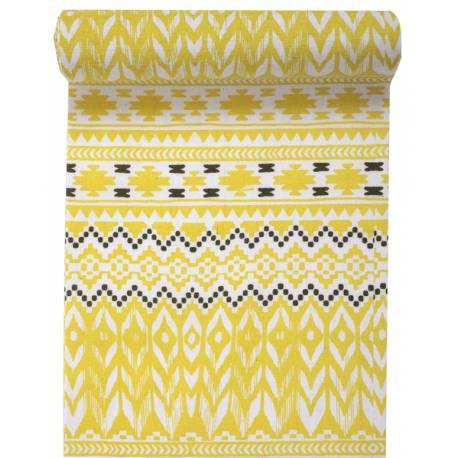 chemin de table jetable tribu jaune. Black Bedroom Furniture Sets. Home Design Ideas