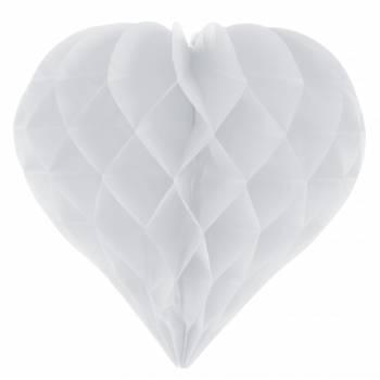 2 décors à suspendres coeur blanc en papier
