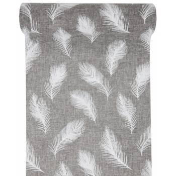 Chemin de table jute plume gris