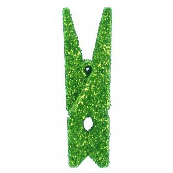 6 Mini pinces pailleté Verte