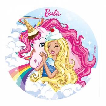 Disque en sucre Barbie papillons