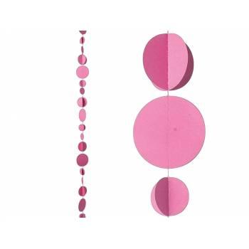 Guirlande cercle 3D fuchsia