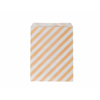 Pochette papier cadeau rayures pêche