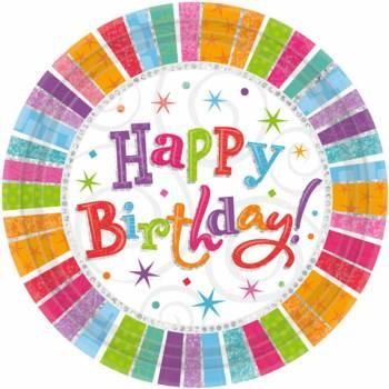 8 Assiettes Joyeux anniversaire Colorstars