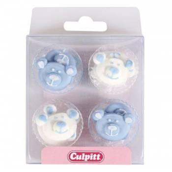 12 Mini décors en sucre ourson bleu