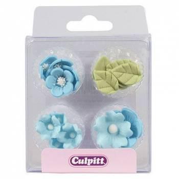 16 Mini décors en sucre fleurs bleues et feuilles