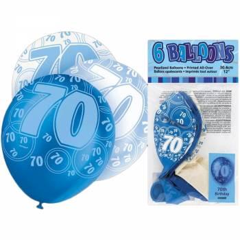 6 Ballons bleu/blanc 70 ans