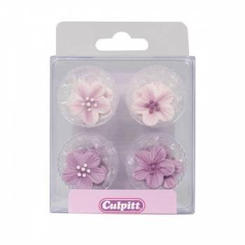12 Mini fleurs violette en sucre