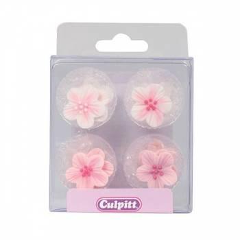 12 Mini fleurs rose en sucre