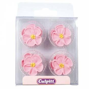 12 Fleurs rose en sucre