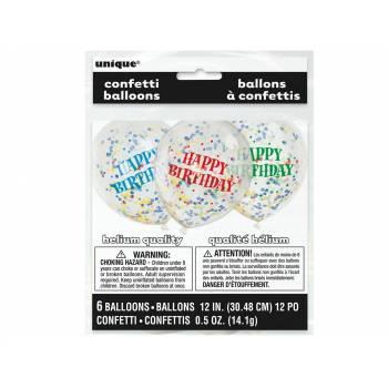 6 Ballons confettis multicolores