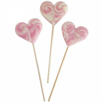 10 Sucettes foraines coeur rose