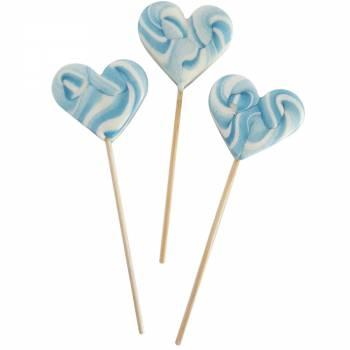 10 Sucettes foraines coeur bleu