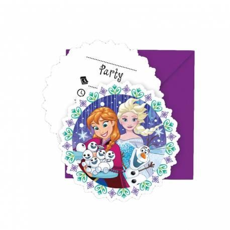 6 Invitations anniversaire Reine des neiges Winter pour la décoration anniversaire de votre enfant.