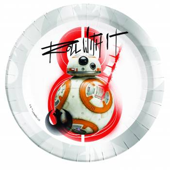 8 Assiettes en carton Star Wars Last Jedi BB8