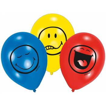 Lot 6 Ballons Smiley en latex